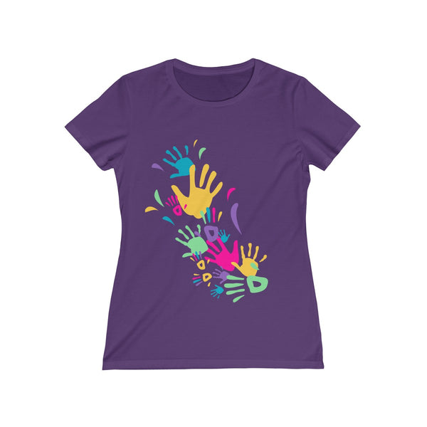 Colorful Hand Impressions Womens Feminine Fit T-Shirt Purple