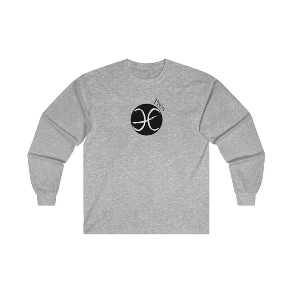Pisces Zodiac Mens Classic Fit Long Sleeves T-Shirt Gray