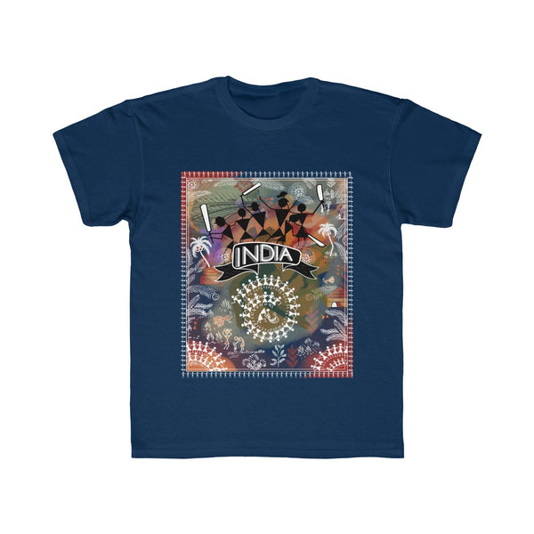 India Cricket Tribal Art Kids Regular Fit T-Shirt Blue