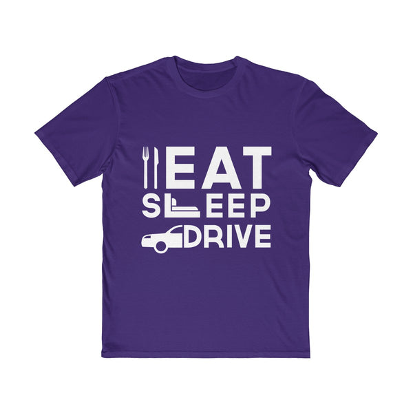 Eat Sleep Drive Mens Semi Slim Fit T-Shirt Purple