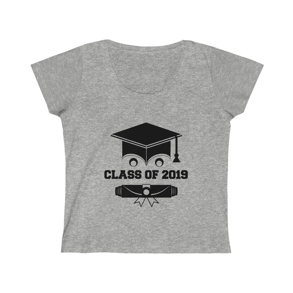 Class of 2019 Smiling Grad Hat and Scroll  Womens Slim Fit Scoop Neck T-Shirt Gray