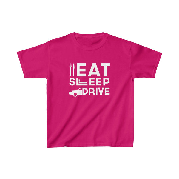 Eat Sleep Drive Kids Classic Fit T-Shirt Red