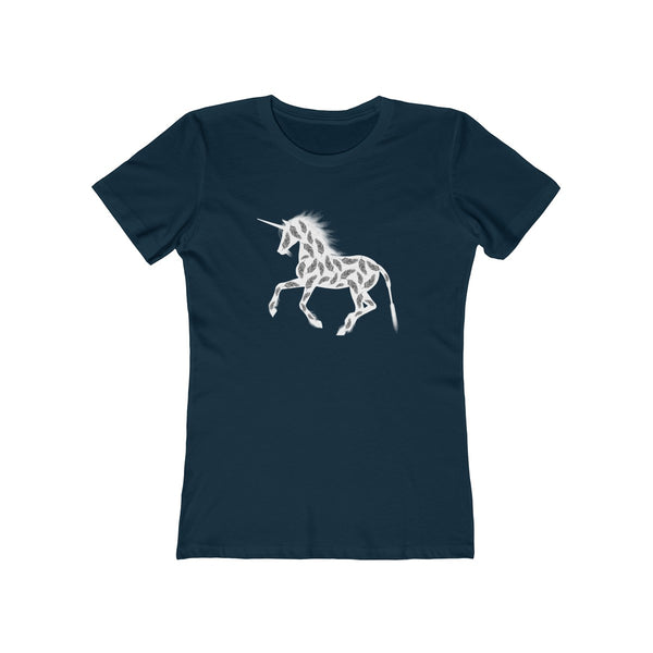 Feather Unicorn Womens Slim Fit Longer Length T-Shirt (Dark Colored)