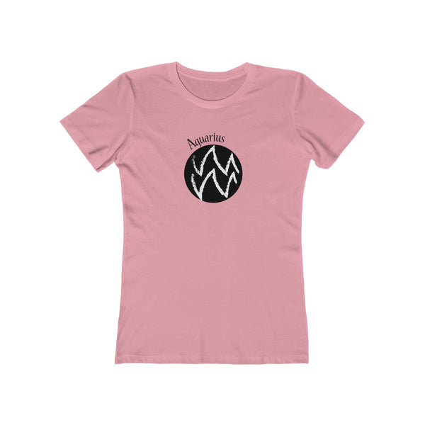 Aquarius Zodiac Womens Slim Fit Longer Length T-Shirt (Light Colored) Pink