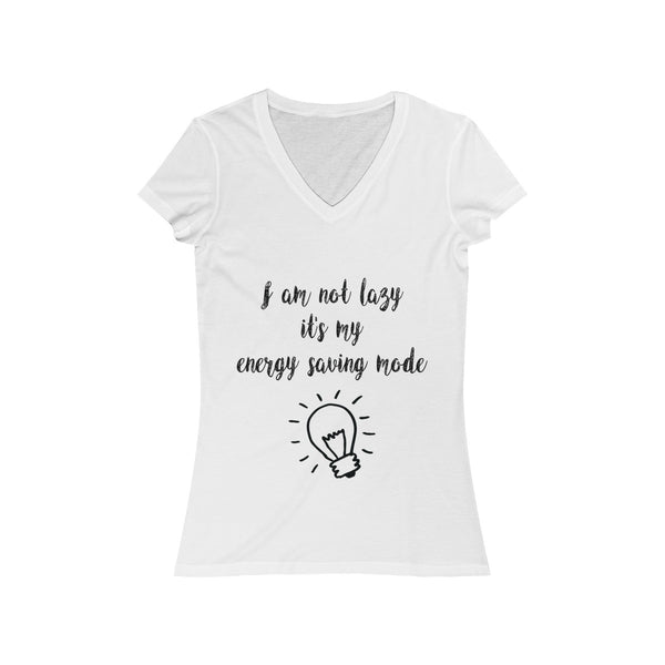 Lazy Energy Saving Mode Womens Slim Fit V-Neck T-Shirt