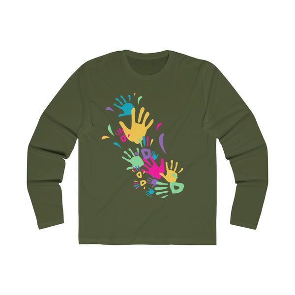 Colorful Hand Impressions Mens Slim Fit Long Sleeves T-Shirt Green