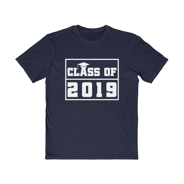 Class of 2019 Graduation Hat  Men's Semi Slim Fit T-Shirt Navy