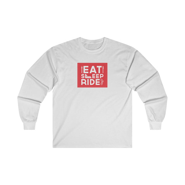 Eat Sleep Ride Mens Classic Fit Long Sleeves T-Shirt White
