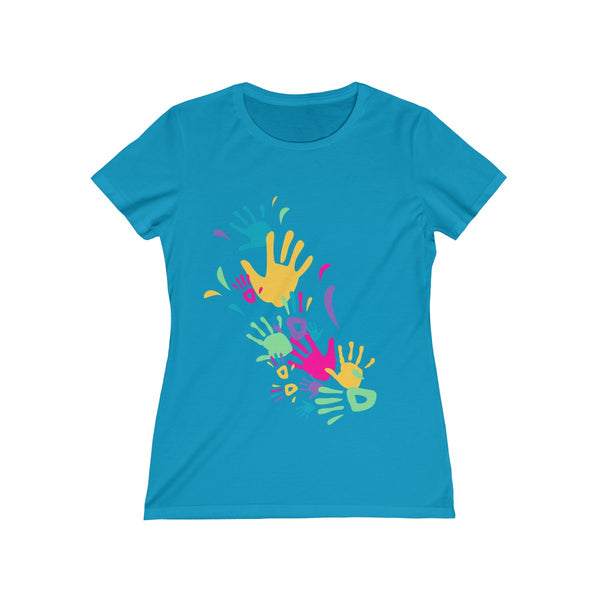 Colorful Hand Impressions Womens Feminine Fit T-Shirt Blue