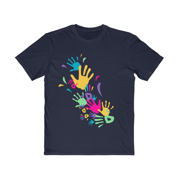 Colorful Hand Impressions Mens Semi Slim Fit T-Shirt Navy
