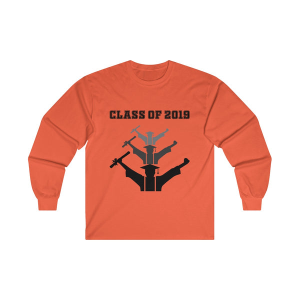 Class of 2019 Exhilarated Grads  Men's Classic Fit Long Sleeves T-Shirt Orange