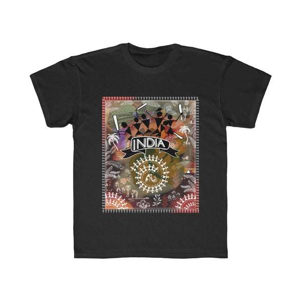 India Cricket Tribal Art Kids Regular Fit T-Shirt Black