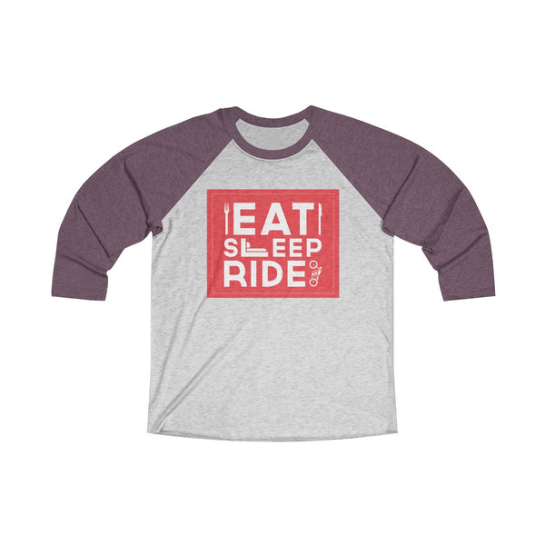 Eat Sleep Ride Unisex Raglan T-Shirt Gray