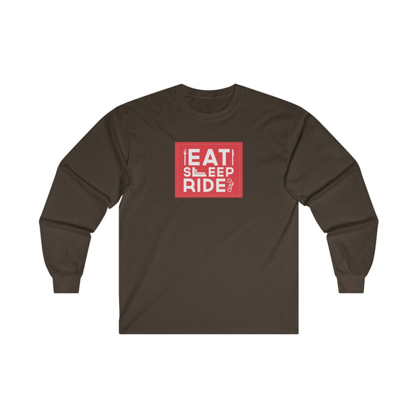 Eat Sleep Ride Mens Classic Fit Long Sleeves T-Shirt Brown