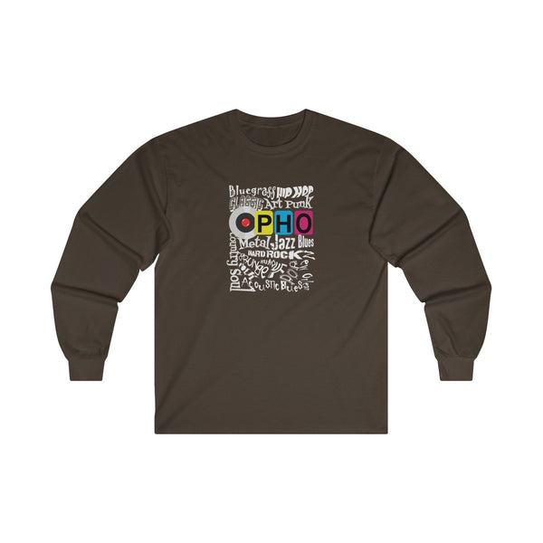 opho Music Genre Mens Classic Fit Long Sleeves T-Shirt Brown