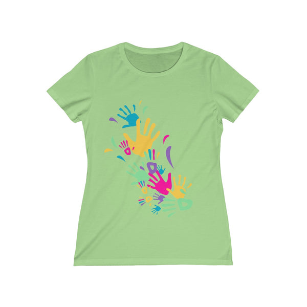Colorful Hand Impressions Womens Feminine Fit T-Shirt Green