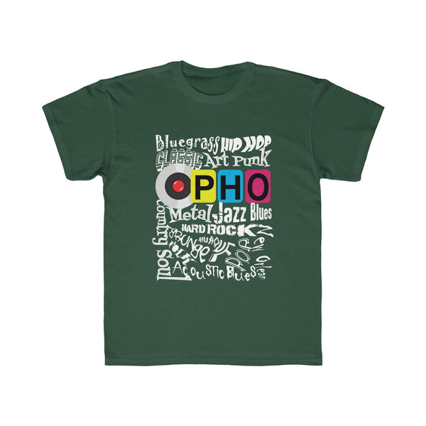 opho Music Genre Kids Regular Fit T-Shirt Green