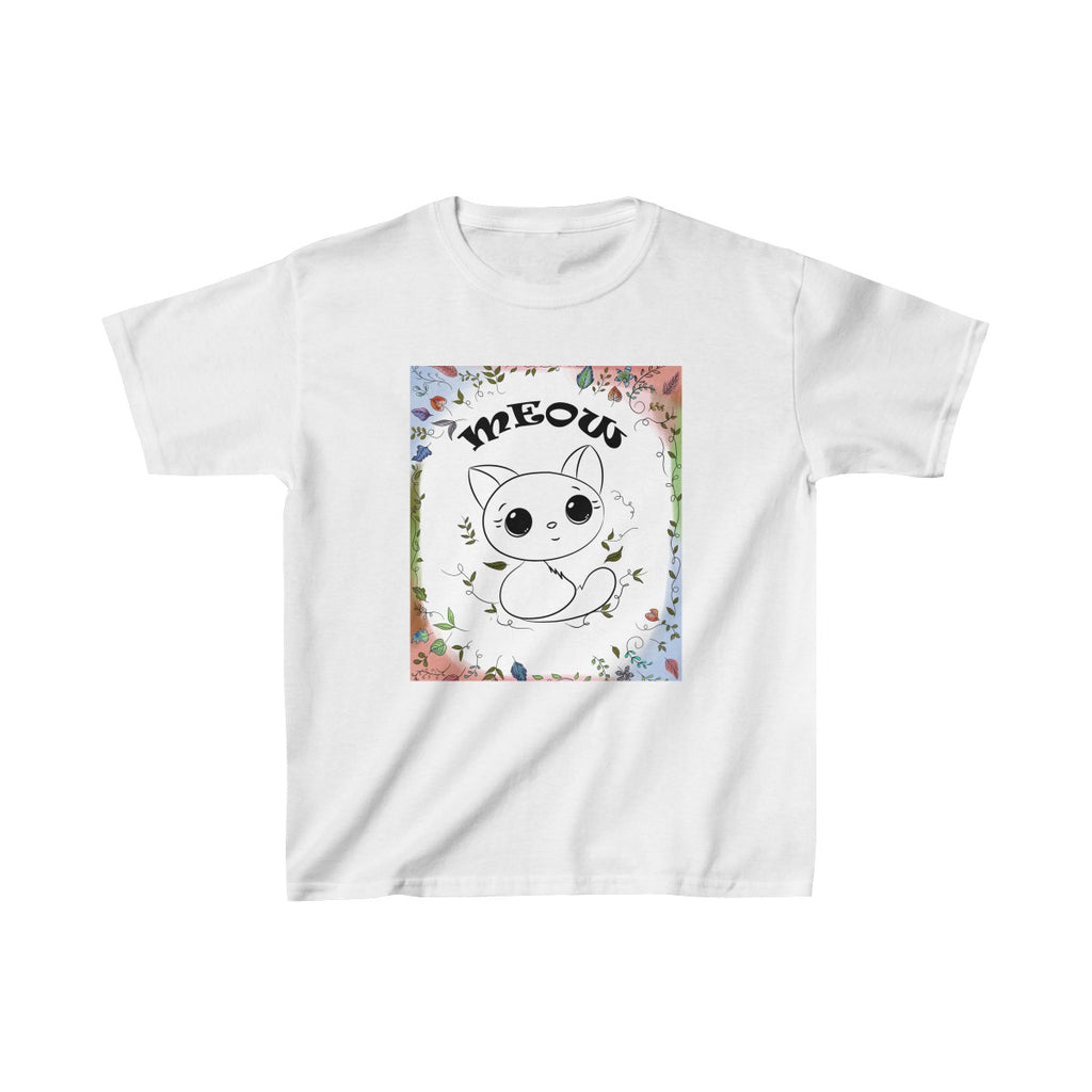 Color Me Cute Cat Kids Classic Fit T-Shirt White