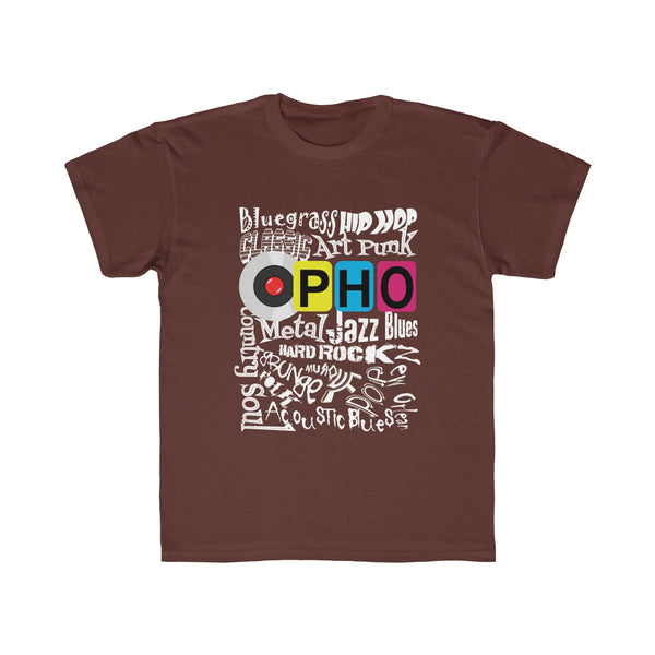 opho Music Genre Kids Regular Fit T-Shirt Brown