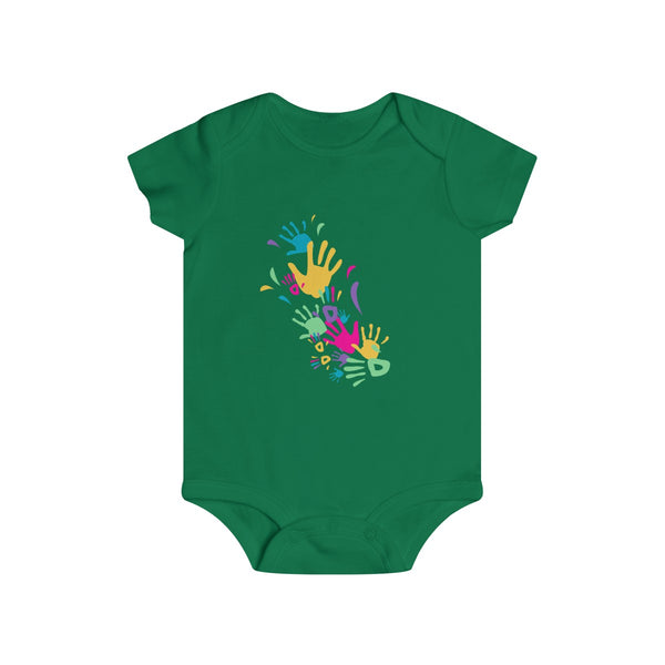 Colorful Hand Impressions Baby Onesies Green