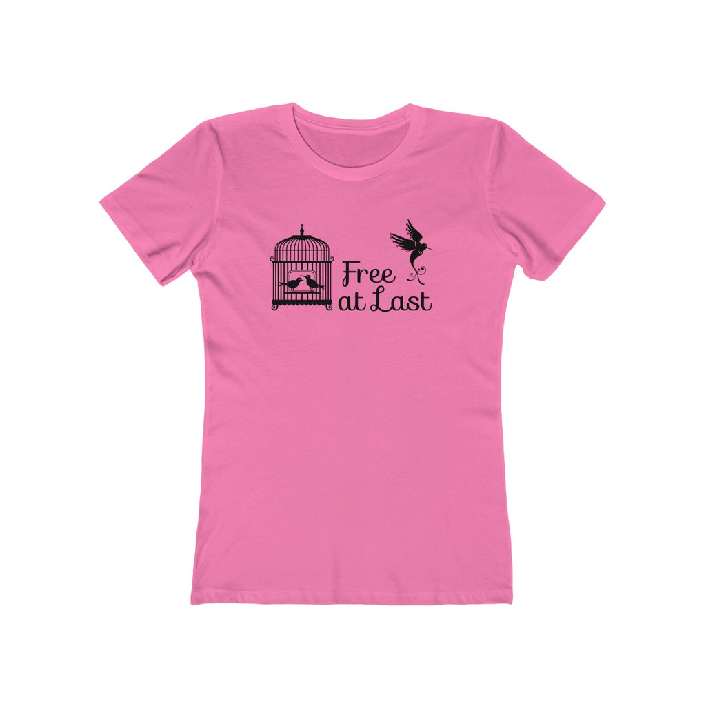Free Bird From Cage Womens Slim Fit Longer Length T-Shirt