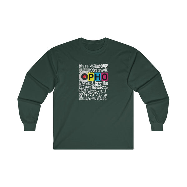 opho Music Genre Mens Classic Fit Long Sleeves T-Shirt Green