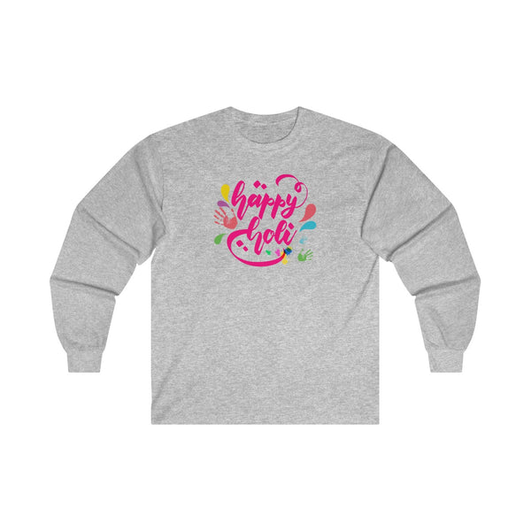 Happy Holi Mens Classic Fit Long Sleeves T-Shirt Gray
