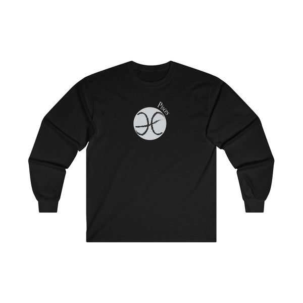 Pisces Zodiac Mens Classic Fit Long Sleeves T-Shirt Black