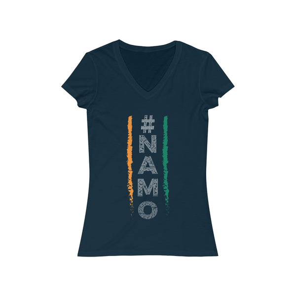 NaMo 1 Womens Slim Fit V-Neck T-Shirt Navy