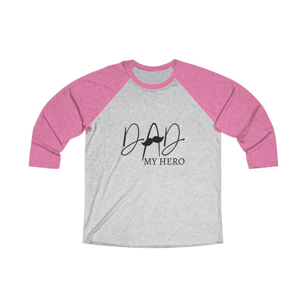 Dad My Hero With Moustache Mens Raglan T-Shirt Pink