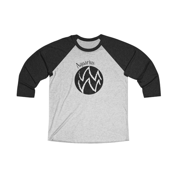 Aquarius Zodiac Unisex Raglan T-Shirt BLACK