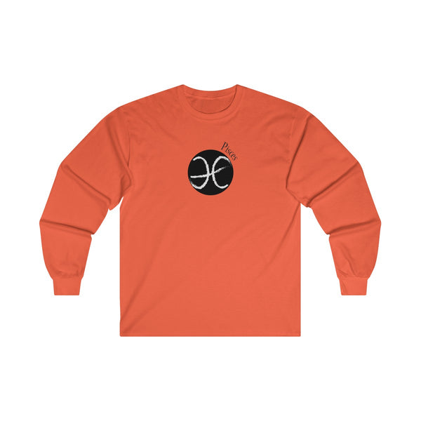 Pisces Zodiac Mens Classic Fit Long Sleeves T-Shirt Orange