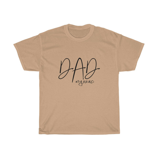 Dad My Hero Without Moustache Mens Classic Fit T-Shirt (Light Colored) Yellow