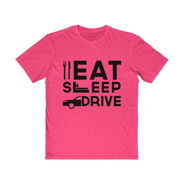Eat Sleep Drive Mens Semi Slim Fit T-Shirt Pink