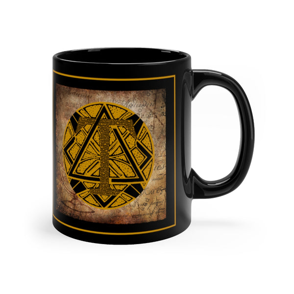 Gothic 'Alphabet T' Black Base Ceramic Mug 11oz
