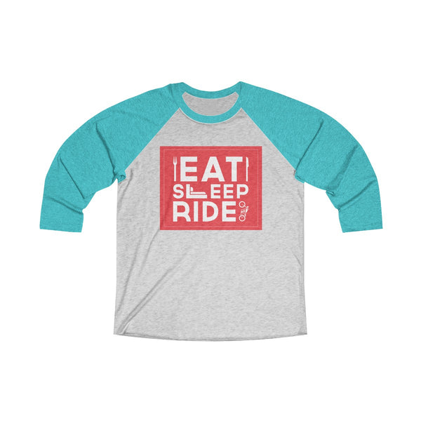Eat Sleep Ride Unisex Raglan T-Shirt Blue