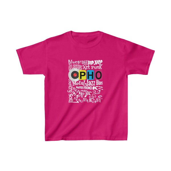 opho Music Genre Kids Classic Fit T-Shirt Pink