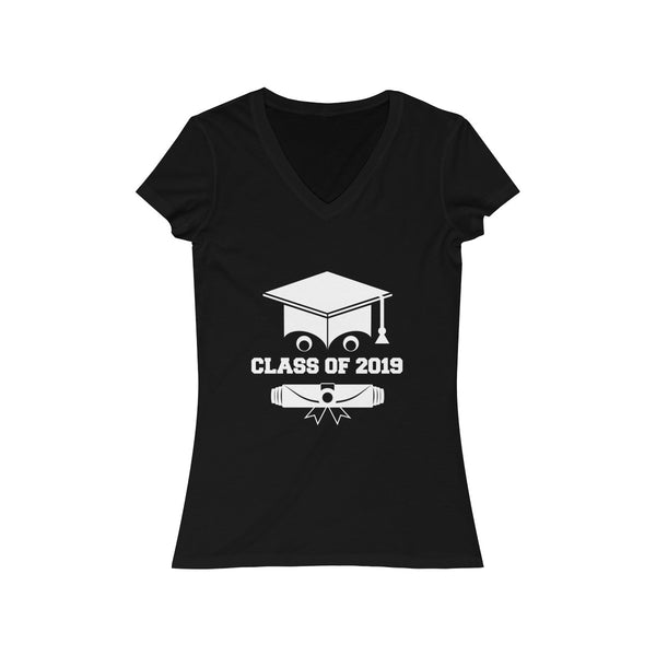Class of 2019 Smiling Grad Hat and Scroll  Womens Slim Fit V-Neck T-Shirt Black