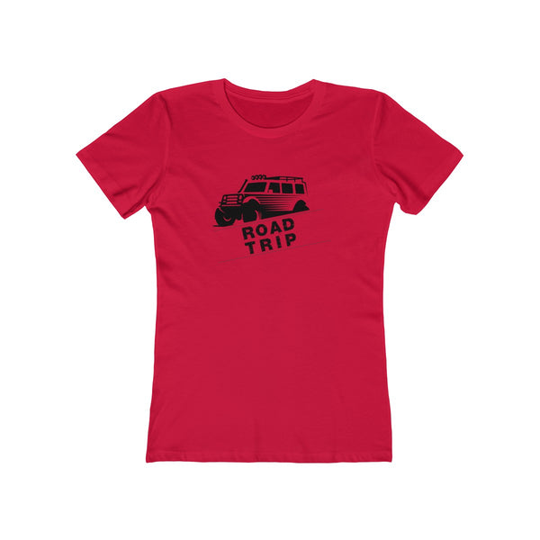 Road Trip Womens Slim Fit Longer Sleeve T-Shirt (Light Colored) Red