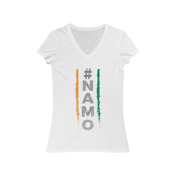 NaMo 1 Womens Slim Fit V-Neck T-Shirt White