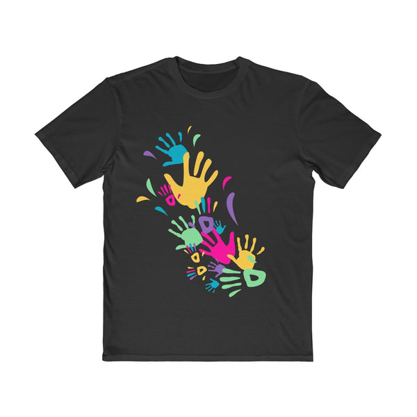 Colorful Hand Impressions Mens Semi Slim Fit T-Shirt Black