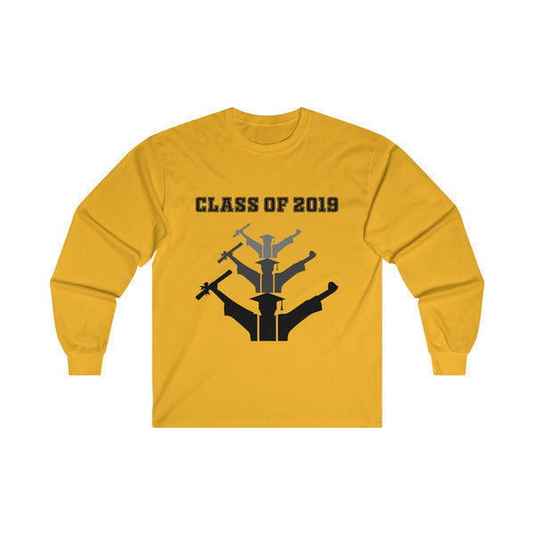Class of 2019 Exhilarated Grads  Men's Classic Fit Long Sleeves T-Shirt Yellow