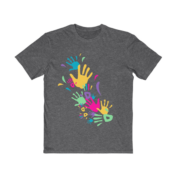 Colorful Hand Impressions Mens Semi Slim Fit T-Shirt Gray