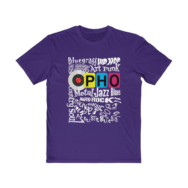 opho Music Genre Mens Semi Slim Fit T-Shirt Purple