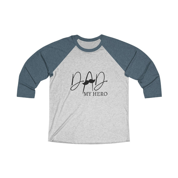 Dad My Hero With Moustache Mens Raglan T-Shirt Blue