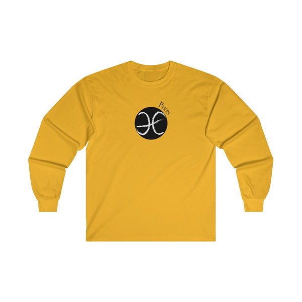 Pisces Zodiac Mens Classic Fit Long Sleeves T-Shirt Yellow
