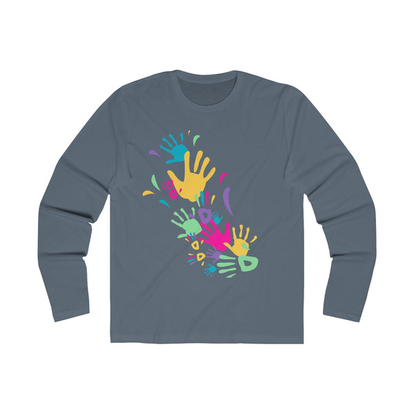 Colorful Hand Impressions Mens Slim Fit Long Sleeves T-Shirt Gray