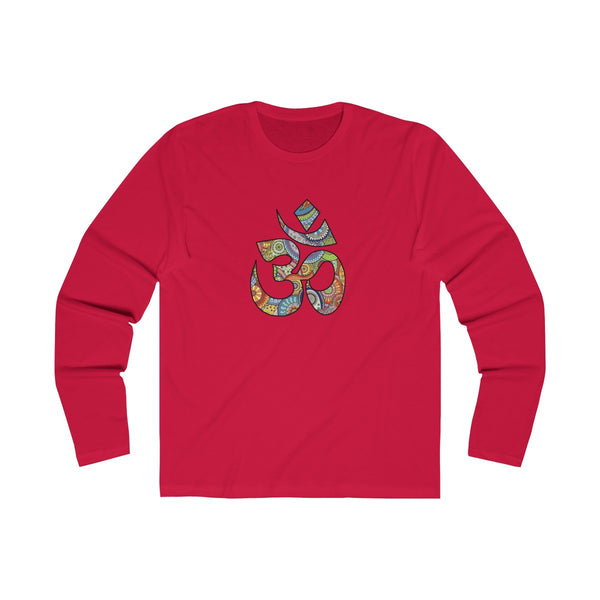 Colorful Hand Drawn Om Symbol Men's Slim Fit Long Sleeves T-Shirt