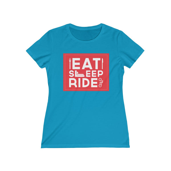 Eat Sleep Ride Womens Feminine Fit T-Shirt Blue
