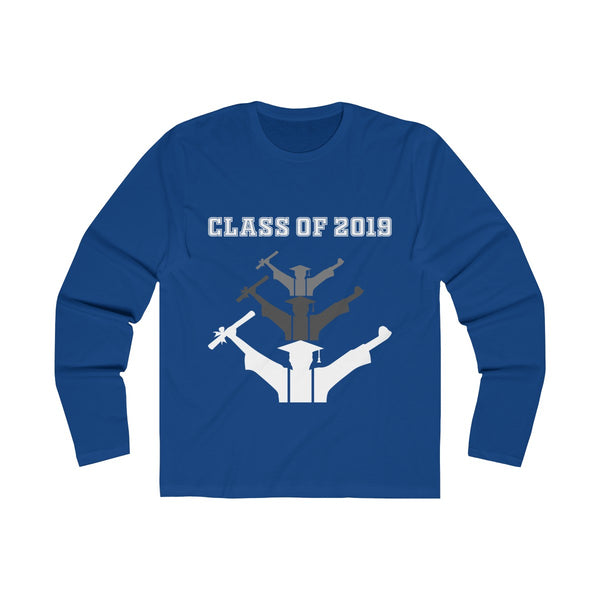 Class of 2019 Exhilitearated Grads  Men's Slim Fit Long Sleeves T-Shirt Blue